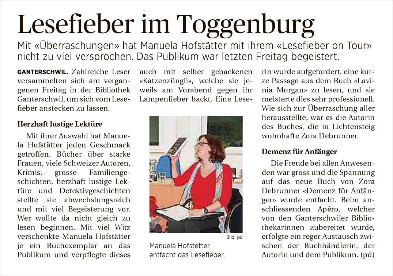 Lesefieber im Toggenburg