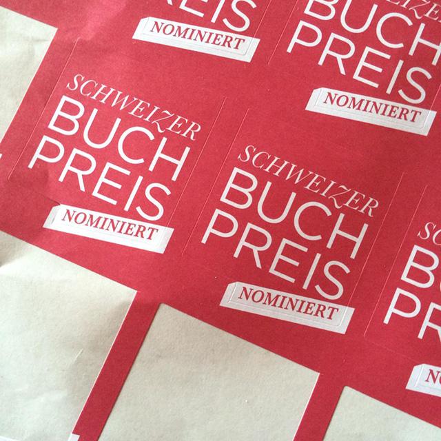 Aufkleber Schweizer Buchpreis 2015