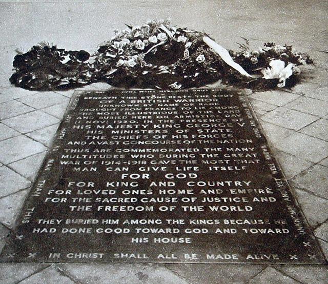 Grabmal des unbekannten Soldaten, Westminster Abbey, 1920