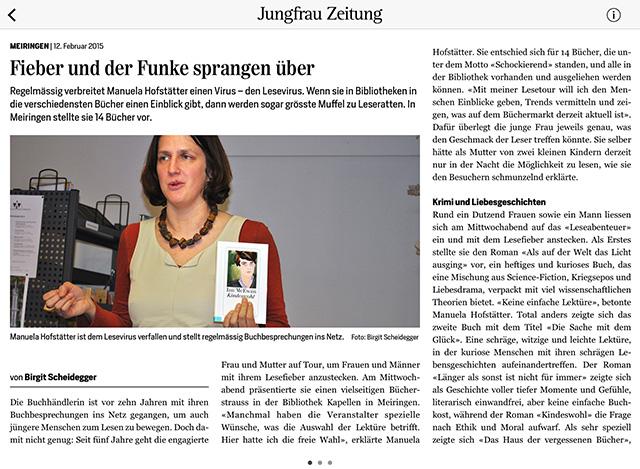 Artikel Lesefieber in Meiringen