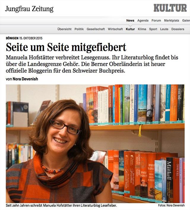 Lesefieber Bönigen / Artikel Jungfrauzeitung